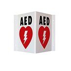 AED Wall Sign, Double Sided, Red, 9in H x 6.1in D