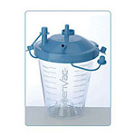 Suction Canister, 850cc, Blue, Vacuum-Tight, Floor, Cabinet or Wall Mount