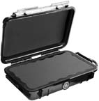 Pelican 1040 Micro Case, 6.50in x 3.87in x 1.75in, Solid Black with Black Rubber Liner