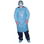 Isolation Gown, Non-Sterile, Impervious Polyethylene Coating, Blue