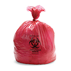 Biohazard Waste Bag, 1.5 mil, Red w/Black Print, 31inch x 43inch, 33gallon