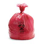 Biohazard Waste Bag, 1.5 mil, Red w/Black Print, 31inch x 43inch, 33gallon