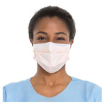 Fluidshield Fog-Free Procedure Mask, w/Visor, Pleat style w/Earloops, Foam Band, Orange