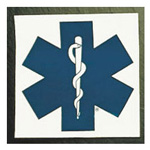 Star Of Life Square Decals, 4inch x 4inch