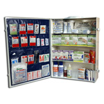 First Aid Cabinet w/Supplies, Metal, Industrial, 22inch x 16 3/4inch, 5 3/4inch, 4-Shelf, LG