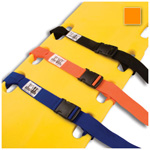 Curaplex Backboard Strap, Side Release Buckle, 2 Piece w/ Loop Lock, Polypropylene, Orange, 5 feet