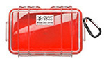 Pelican 1040 Micro Case, 6.50in x 3.87in x 1.75in, Clear with Red Liner