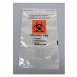 Biohazard Specimen Bag, Zipper Seal,  6inch x 6inch with 9inch Pocket