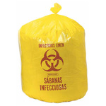 Infectious Linen Collection Bags, Yellow w/Red Print, 1.1 mil, 34inch x 43inch, 33gal