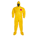 Tychem QC Coverall, Yellow, Bound Seam, Hood and Socks, Elastic Wrists, LG