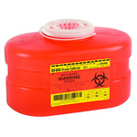*Limited Quantity* Sharps Container, Funnel Top, 5 3/4inch x 8 1/2inch x 5inch, Red, 3.3 Quart