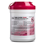 Sani-Cloth Plus Germicidal Disp Wipes, Low Alcohol, LG, 6inch x 6 3/4inch, 160/tub