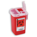 Phlebotomy Sharps Container, Red, 1 quart
