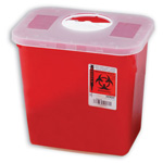 Multi-Purpose Sharps Container, with Rotor Opening Lid, Red, 2 Gallon