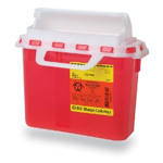 *Limited Quantity* Sharps Container, Horizontal Entry, 10 3/4inch x 10 3/4inch x 4inch, 5.4 Quart, Red