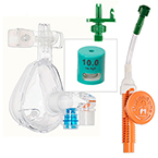 O2-MAX 10cm Fixed Peep, w/Integrated Neb, Bitrac ED Mask, w/Chemtron Quik-Connect Adult MED