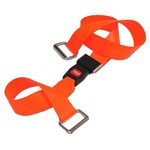 BioThane G1 Restraint Strap, 2 pc, 5ft, Metal Loop Ends, Metal Push Button Buckle, Orange