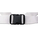 Straps, Economy Polypropylene, Plastic Double Adjust Buckle, 2 piece w/Loop Ends, White, 5 ft