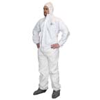 Coveralls, ProWorks Liquid & Particulate, White, Hood, Elastic Wrist & Ankles, XL *Limited Quantity*