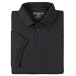5.11 Men Professional Polo Shirt, Pique Knit, Short Sleeve, Black, XS