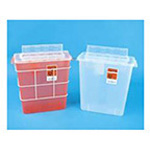 *Limited Quantity* In-Room Sharps Container, with Always-Open Lid, Transparent Red, 3 Gallon