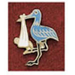 Uniform Pin, Blue Stork, w/Tack Clasp