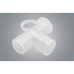 AirLife Ventilator Elbow, with Suction Port and Cap, 22mm ID x 22mm OD inlet arm
