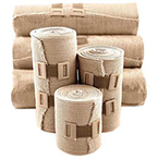Bandage, Elastic, Tan, 3 in x 5 yd, Pre-Attached Clip 10ea/bx 5bx/cs