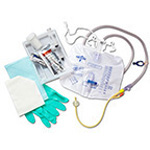 Foley Catheter Tray, Silicone Elastomer Coated Catheter, Anti-Reflux Tower Drain Bag, 16Fr, 5cc