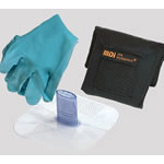 CPR Microholster-XL CPR Barrier, with Microshield, Nitrile Gloves, Black Case