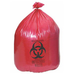 Biohazard Waste Bag, 1.5 mil, Red w/Black Print, 17inch x 17inch, 4gallon