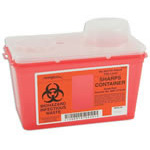 *Limited Quantity* Monoject Sharps Container, Vertical Drop, Red, 6.75in W x 10.56in L x 7.08in H, 4 Quart