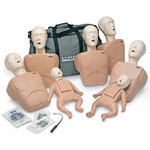 CPR Prompt Training 7 Pack for Manikin, Face Shield/Long Bag, Carry Case, Tan, Adult/Child/Infant