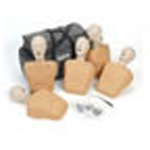 CPR Prompt Training and Practice Manikin, 5 Pack, Carry Case, Tan, Adult/Child
