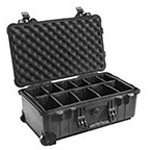 Pelican 1510 Carry-On Case, 19.75inch x 11inch x 7.6inch, Black w/Padded Dividers