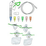 Trach Venturi Mask, Adult, Full Set of Color-coded Oxygen Diluters, 7 ft Tubing, Humidification cup