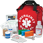 Emergency Medical Kit w/ Soft Nylon Case, 12inch x 12inch x 10inch, Red, LG