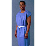 Exam Gown, Non-Woven, Disposable, w/Crepe Ext 30inch x 42inch, Blue *Discontinued*