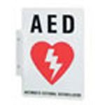 AED Wall Sign, 9inch H x 6.1inch D, Red