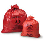 Biohazard Waste Bag, 1.2 mil, Red w/Black Print, 25inch x 34inch, 12-16gal *Discontinued*