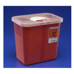 *Limited Quantity* Multi-purpose Sharps Container, with Hinged, Rotor Lid, Red, 3 Gallon