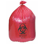 Biohazard Waste Bag, 1.2 mil, Red w/Black Print, 24inch x 24inch, 10gallon