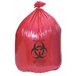 Biohazard Waste Bag, 1.2 mil, Red w/Black Print, 24inch x 24inch, 10gallon