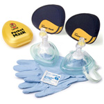 CPR Pocket Mask w/O2 Inlet and Headstrap, Gloves and Wipe, Black Soft Case