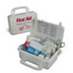 Handy Deluxe First Aid Kit, Plastic Case, 7 3/4inch x 4 3/4inch x 2 7/8inch, White