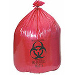 Biohazard Waste Bag, 13 µ, Red w/Black Print, 24inch x 24inch, 10gallon