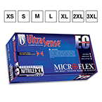 Microflex UltraSense  EC Gloves, Nitrile, Textured fingers, PF, Extended Cuff, 11.4in, Blue, MED