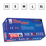 Microflex UltraSense Gloves, Nitrile, Comfortable Fit, Powder Free, Blue, XSM