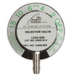 LSP Constant Flow Selector Valve, DISS Outlet, 0-15 LPM w/O2 DISS Outlet