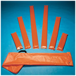 Splint Set, Padded Board, 2 each of 15inch, 36inch and 54inch, Orange Vinyl Cover